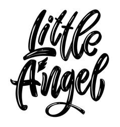 Little angel lettering phrase on white background vector