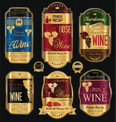 luxury golden wine labels collection vector image