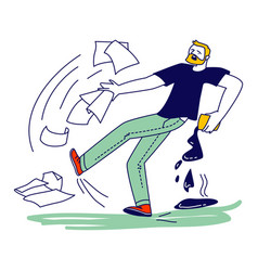 Male character slipping on wet floor pouring vector
