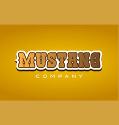 Mustang western style word text logo design icon vector