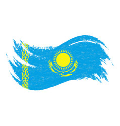 National flag of kazakhstan designed using brush vector