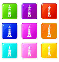 Navigate tower icons set 9 color collection vector
