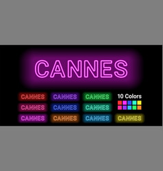 Neon name of cannes city vector