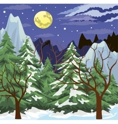 Night mountain landscape vector image vector image