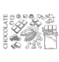 Outline chocolate set icons vector
