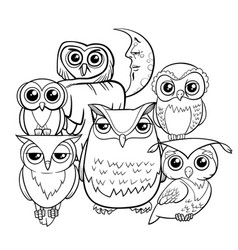 Owls group cartoon characters coloring book vector