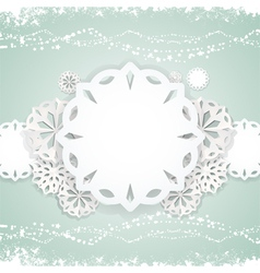 paper snowflake background on blue vector image
