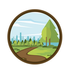 parkscape in round icon vector image