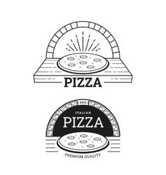 pizza labels design vector image