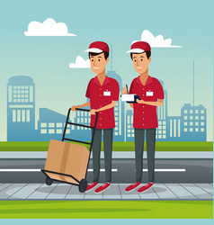 poster city landscape with fast delivery men with vector image