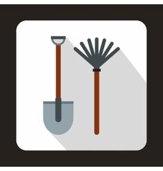 Rake and shovel icon flat style vector image
