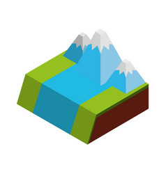 River terrain isometric icon vector