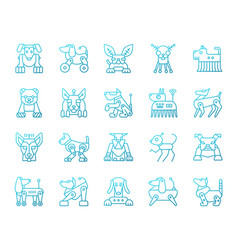 robot dog simple color line icons set vector image