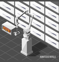 Robotized hotels isometric background vector