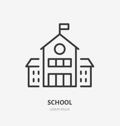 School building line icon pictogram of vector