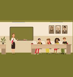 School classroom with children on laptops vector
