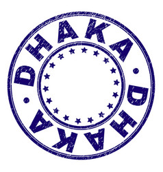 Scratched textured dhaka round stamp seal vector