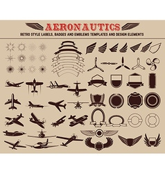 Set of aeronautics labels templates vector image