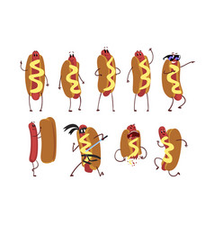 set of funny cartoon hot dog character in action vector image