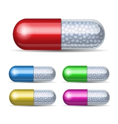 Set of medical capsule with granules vector image