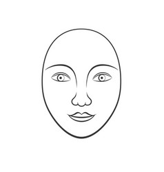 simple human face line art vector image