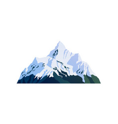Snow capped peaks snowy rocky mountain cliffs vector
