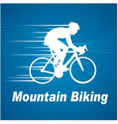 sport mountain biking blue background image vector image