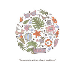 summer setcollection isolated on a white vector image