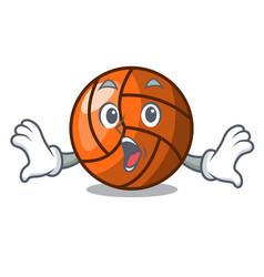 Surprised volleyball mascot cartoon style vector