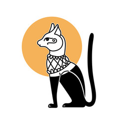 symbolic hand drawing cat god bastet egyptian vector image