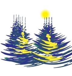 The stylized image of spruce forest on a winter vector image