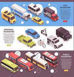 Transport horizontal isometric banners vector