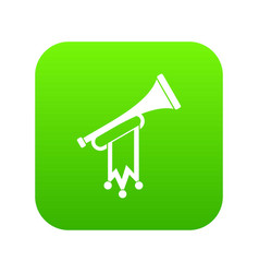 trumpet with flag icon digital green vector image