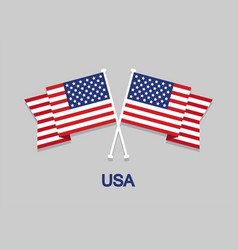 two crossed flags america with text usa in flat vector image
