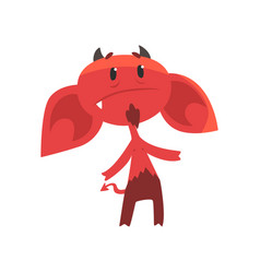 Upset devil character with big drooping ears vector