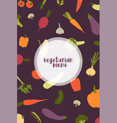 vegetarian menu cover template decorated with vector image