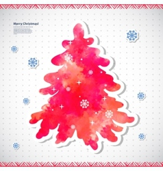 Watercolor Christmas with a pine tree vector