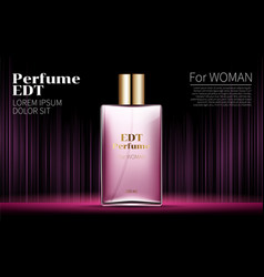 Woman glamour pink bottle perfume contained vector