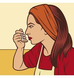 Woman in the kitchen pop art vector