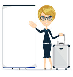 young happy woman standing with suitcase and blank vector image