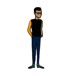 Young man student standing cartoon person image vector