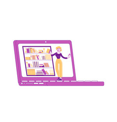 young woman character stand at huge laptop vector image