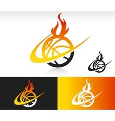 Fire Swoosh Basketball Logo Icon vector image vector image