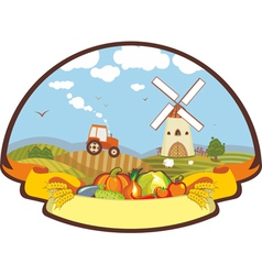 Label Farm Harvest Mill Tractor vector image vector image