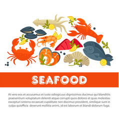 seafood fresh fish poster sea food restaurant vector image vector image