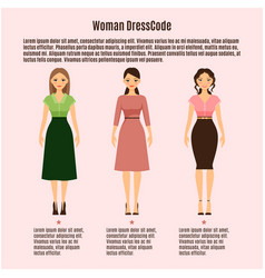 woman dress code infographic on pink vector image