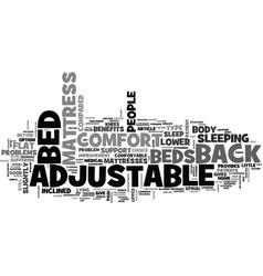 Benefits of adjustable beds text word cloud vector