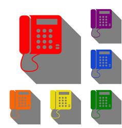 communication or phone sign set of red orange vector image