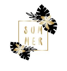 gold palm leaves summer poster design vector image