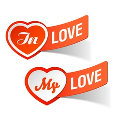 in love my love labels vector image